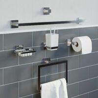 Bathroom Towel Robe Hook Holder Chrome Square Wall Mounted Stylish Modern