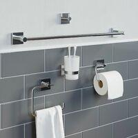 Bathroom WC Tumbler Toothbrush Holder Chrome Square Wall Mounted Stylish Modern