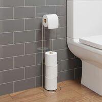 Bathroom WC Round Floor Standing Chrome Toilet Roll Holder Modern Storage Tidy