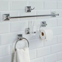 Bathroom Set Towel Ring Toilet Roll Holder Chrome Wall Mounted Traditional