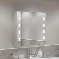 Bathroom LED Mirror Cabinet Demister Shaver Socket Aluminium IP44 600 x 650mm