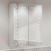 Bathroom Mirror Cabinet LED Illuminated Wall Mounted Mains Power IP44 600x700mm