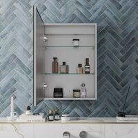Bathroom LED Mirror Cabinet Illuminated Demister Pad Shaver Socket 500 x 700mm