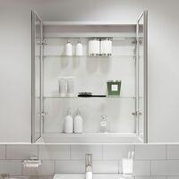 Modern Mirror Cabinet LED Illuminated Wall Mounted Shaver Socket IP44 600x700mm