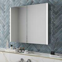 Modern Bathroom Mirror Cabinet LED Illuminated Wall Mounted IP44 700 x 800mm
