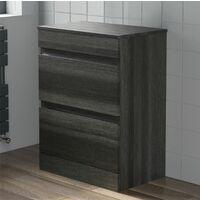 600mm Bathroom Countertop Vanity Drawer Unit Floor Standing Charcoal Grey
