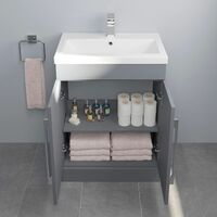 600mm Bathroom Vanity Unit Basin Concealed Cistern Toilet WC Gloss Grey Modern