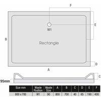 Modern Rectangle Shower Tray 800 x 700mm Easy Plumb Slimline Lightweight White