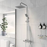 Thermostatic Mixer Shower Set Square Chrome Twin Head Exposed