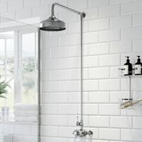 Traditional Thermostatic Mixer Shower Set Round Chrome Crosshead Exposed Valve