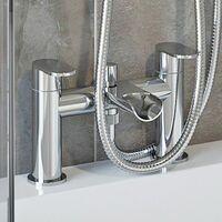 Bathroom Mixer Shower Kit Adjust Riser Rail Hose Chrome Round Dual Head Chrome