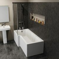 Bathroom Suite L Shaped LH Bath Basin 600mm Vanity Unit Toilet Shower Taps Set