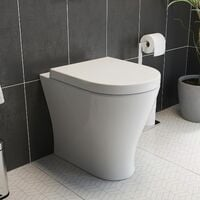 Back To Wall Toilet Pan with Soft Close Seat Space Saving Modern White Ceramic