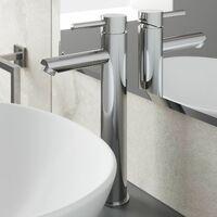 Modern Bathroom High Rise Basin Mixer Tap Tall Chrome Single Lever Solid Brass