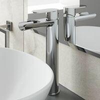 Bathroom Waterfall High Rise Tall Mono Basin Sink Mixer Tap Modern Single Lever