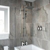 Modern Shower Mixer with Waterfall Tap Kit Riser Rail Hose Chrome Twin Heads