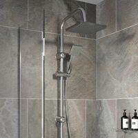 Bathroom Shower Kit Adjust Riser Rail Hose Twin Shower Heads Chrome Square Set