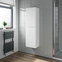 Bathroom Cabinet Flat Pack Gloss White Wall Hung Tall 350 x 250mm