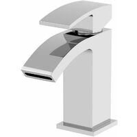 Modern Bathroom Mono Basin Sink Mixer Tap Curved Spout Lever Handle Chrome