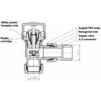 Duratherm Angled Polished Chrome Thermostatic Radiator Valve 15mm TRV Rad
