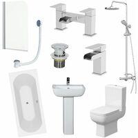 1700mm Bathroom Suite Double Ended Bath Shower Screen Toilet Taps Basin Pedestal