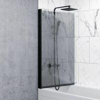 Over Bath Shower Screen Door 800mm Frameless Black Square 6mm Safety Glass Panel