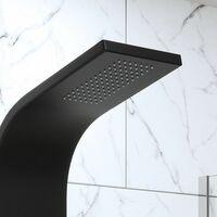 Thermostatic Bathroom Shower Tower Panel Column Body Jets Twin Head Matt Black