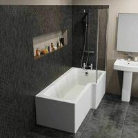Modern 1600 L Shaped Bathroom Suite RH Showerbath Screen Toilet Basin Pedestal