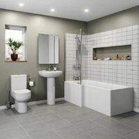 Modern 1600 L Shaped Bathroom Suite LH Showerbath Screen Toilet Basin Pedestal