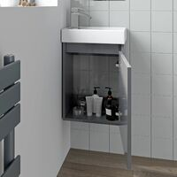 Gloss Grey Wall Mounted 400mm Slimline Vanity Unit Basin Sink Cloakroom Bathroom