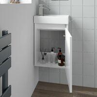 Gloss White Wall Hung 400mm Slimline Vanity Unit Basin Sink Cloakroom Bathroom