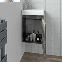 Charcoal Wall Hung 400mm Slimline Vanity Unit Basin Sink Cloakroom Bathroom