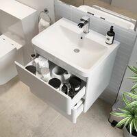 Bathroom Wall Hung Vanity Unit Wash Basin Base Cabinet Two Drawers Storage White