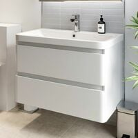 Bathroom Wall Hung Vanity Unit Wash 800 Basin Base Cabinet Drawers Storage White