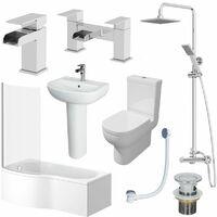 1700mm Bathroom Suite LH P Shaped Bath Screen Basin Toilet Shower Taps Waste