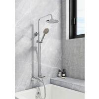Bathroom Thermostatic Mixer Shower Set Bath Filler Tap Round Twin Head Drencher