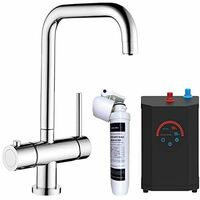Instant Hot Cold Boiling Water Angular Kitchen Tap Filter Tank Chrome