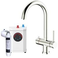 3 in 1 Instant Hot Cold Boiling Water Kitchen Tap Filter Tank Twin Lever Brushed