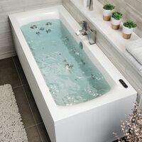1700x750mm Double End Square Whirlpool Bath LED Lighting Ozonator Side End Panel