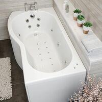 1700mm P Shaped LH Whirlpool Bath 26 Jets Screen Side End Panel White Bathroom