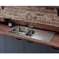 Rangemaster Houston Kitchen Sink 1.5 Bowl Reversible Inset Stainless Steel Waste