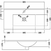 Vasari Camden Grey Gloss Wall Hung Cloakroom Vanity Unit Slimline Basin 800mm