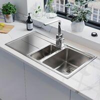 Rangemaster Arlington Kitchen Sink 1.5 Bowl LH Drainer Stainless Steel Waste