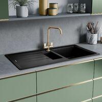 Rangemaster Elements Kitchen Sink 1.5 Bowl Black Granite Inset Reversible Waste