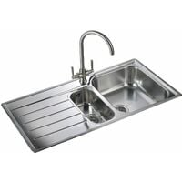 Rangemaster Oakland Kitchen Sink 1.5 Bowl Left Hand Stainless Steel Inset Waste