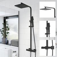 Bathroom Thermostatic Mixer Shower Set Square Black Twin Head Exposed Valve