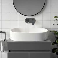 Ceramic Bathroom Vanity Wash Basin Sink Countertop Oval Modern 600 x 380mm White