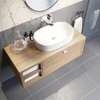 Bathroom Wall Hung Vanity Unit Sink Cabinet Wash Basin Sink Storage Drawer 1100