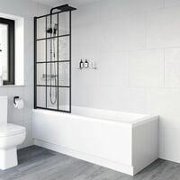 Bath Shower Screen Door Hinged 780mm Framed Black Grid Square Safety Glass Panel