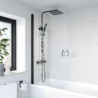 Bath Shower Screen Door Hinged 780mm Frameless Black Clear Safety Glass Panel